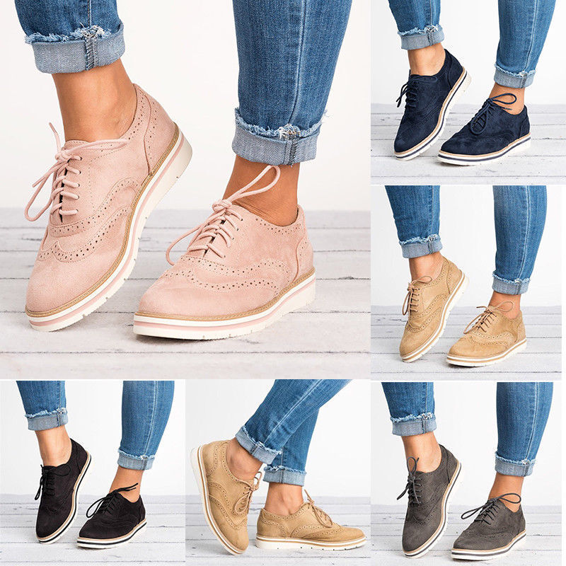 Women Casual Wing Tip Brogues Oxfords Dress Formal Stitched