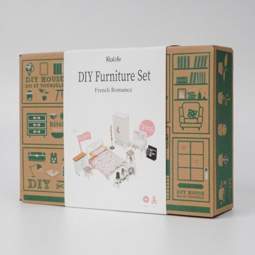 Doll House Furniture Set, Miniature Bedroom Kit, French Romance