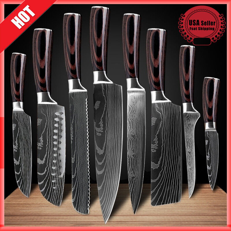 Stainless 8 Pcs Professional Knives Set Damascus Chef
