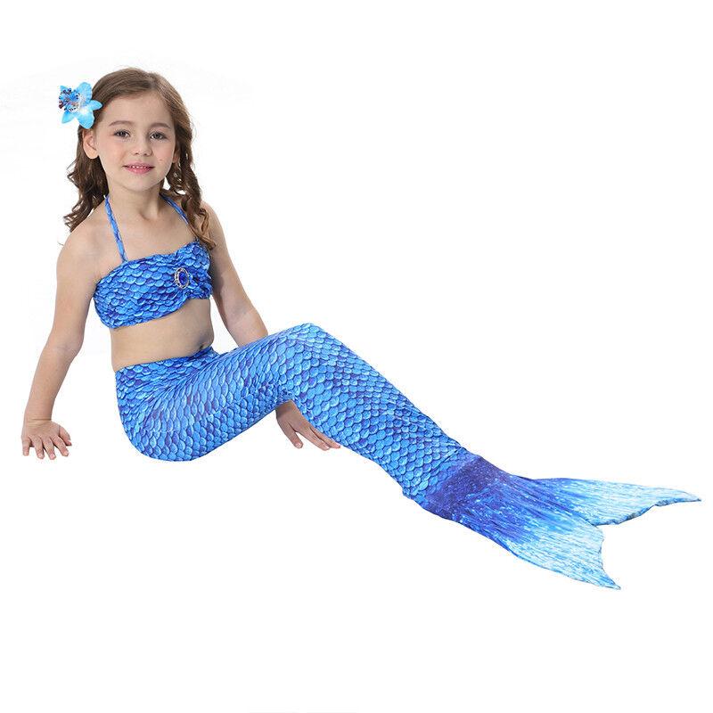 Kinder Meerjungfrau Kostüm Mädchen Bademode Badeanzug Cosplay Sommer Bikini Set Dunkelblau