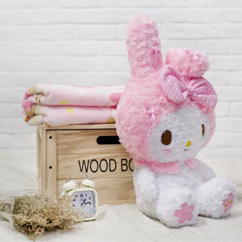Cute Pink Bowknot My Melody Kitty Doll Plush Toy Soft Blanket Xmas Gift