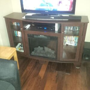 Media/TV stand with built in electric fireplace, look NEW