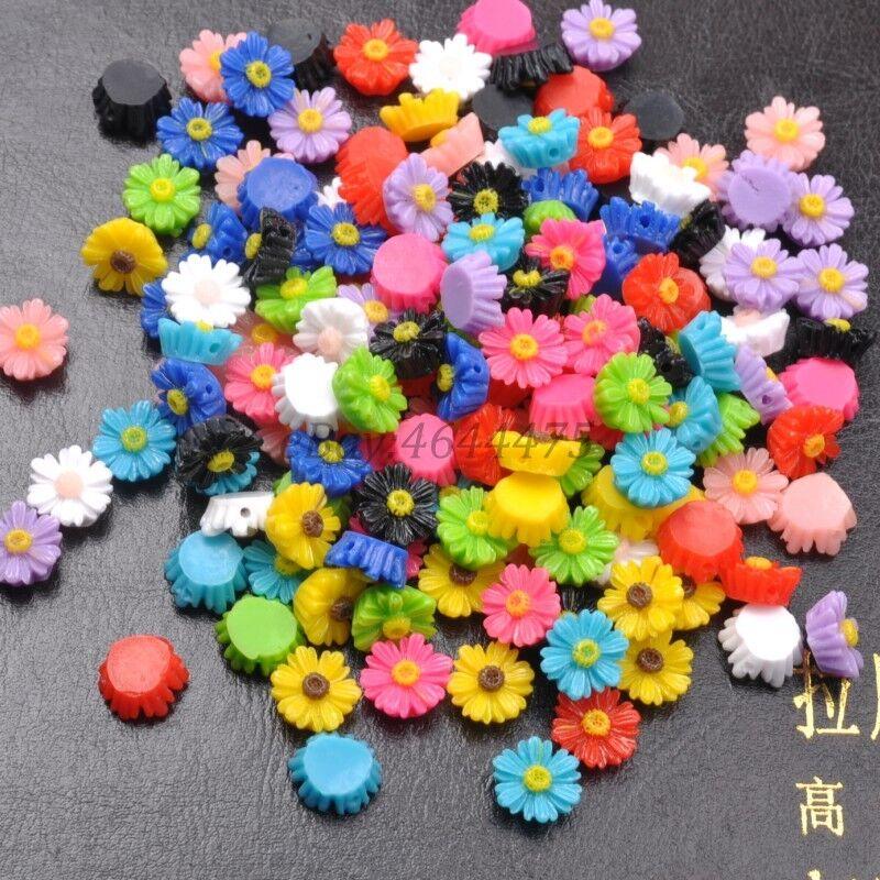 50Pcs Resin Sunflower Flower Flat Back Scrapbooking Beads Jewelry Findings