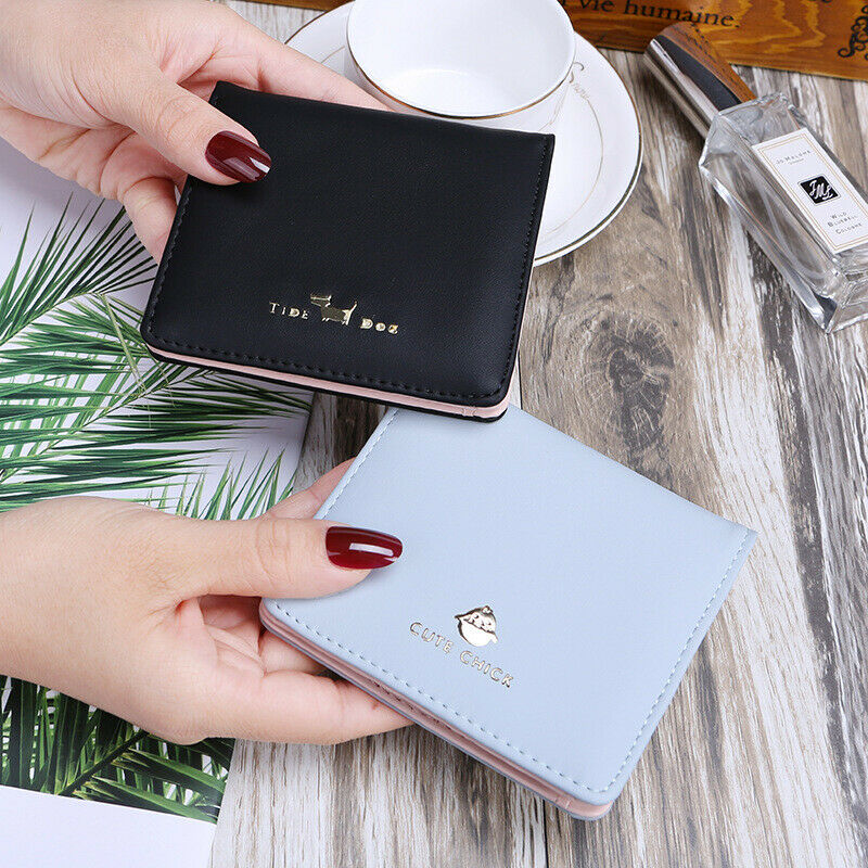 Cute Women Short Wallet Leather Bifold Card Holder Coin Mini Bag Purse US Clothing, Shoes & Accessories