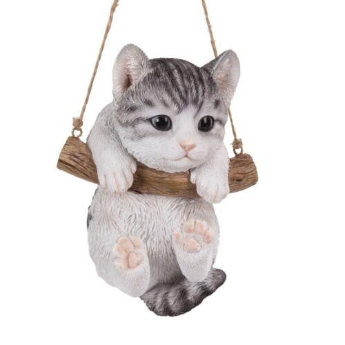 """5"""" Grey Silver Tabby Cat Kitten Swing on Macrame Branch w Jute String Pet Pal"""