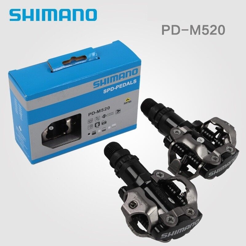 Bike Pedal Clips >> Details About Shimano Pd M520 Spd Mtb Mountain Bike Pedal Clipless Cycling Pedals Cleats Nib