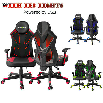 Ergonomic Racing Gaming Chair Swivel Reclining Office Pc Chair With Led Lights