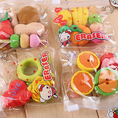 Cute Cartoon Fruit/Food/Veg/Pistol/Rubber Pencil Eraser Kids Stationery Gift - Food Erasers