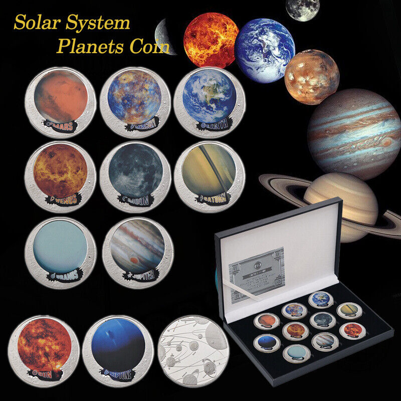 WR 10pcs Planets Silver Coins Exploring Solar System Collection Gifts For Kids