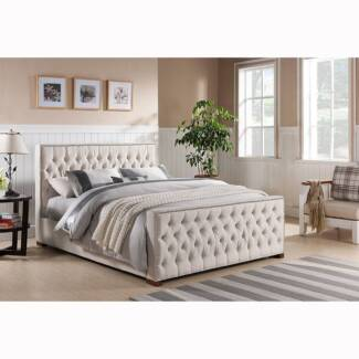 Brand New Beige Fabric Bed Frame size Double Queen King - ROYAL