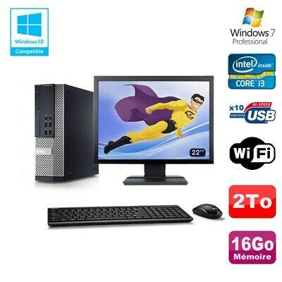 Lot PC DELL 790 SFF Intel Core i3-2120 3.3Ghz 16Go 2To WIFI W7 Pro + Ecran 22