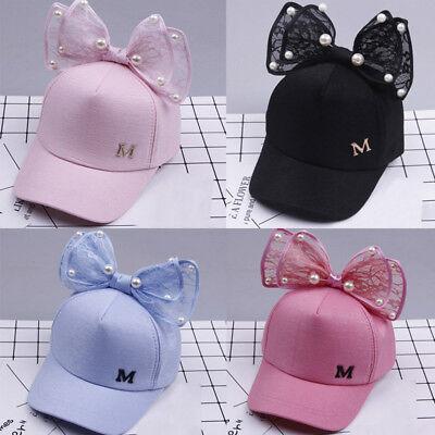 US Kids Baby Baseball Cap Girls Boys Childrens Pearl Bowknot Bongrace Summer Hat