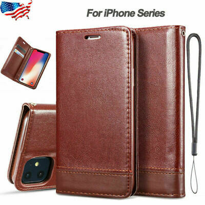 For iPhone 11 Pro Max Xr 8 7 6 Plus Leather Magnetic Flip Wallet Case Card Cover