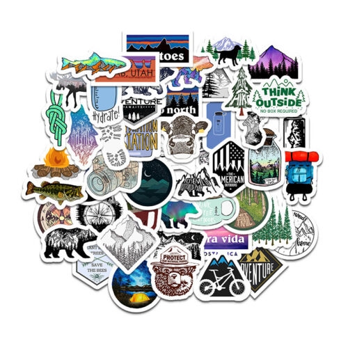 Lot 100 Camping Nature Outdoors Stickers Hydoflasks Stickers Bomb - USA SELLER
