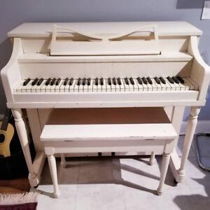 Cameo Upright Piano (White)