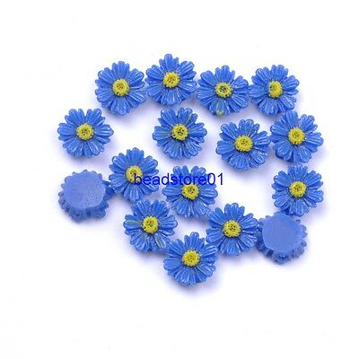 20Pcs Sapphire Resin Sun Flower Retro Flatbacks Beads 10mm
