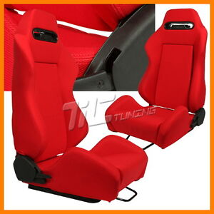 TYPE R STYLE RED RACING BUCKET SEATS HONDA EK9 EG6 DC2 INTEGRA/CIVIC/ACCORD