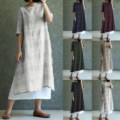 Short Caftan - US Autumn Womens Loose Short Sleeve Linen Dress Kaftan Soild Top Long Maxi Dress
