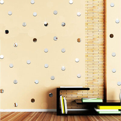 - 2cm Mini Round Mirror Wall Sticker 50pcs DIY Decals Kids Bedroom Home Decoration