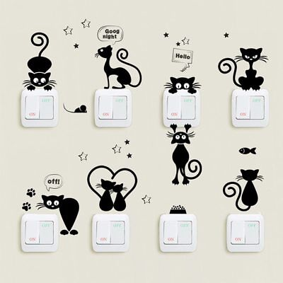 Wall Stickers Animals Cat Light Switch Decor Decals Art Mural Baby Nursery Room Baby Nursery Wall Decals