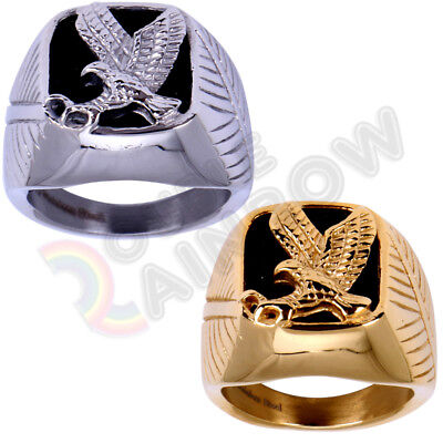 Black Onyx Eagle (R3 Men' Stainless Steel Black Onyx Gold Silver Eagle Ring Size 8-13 )