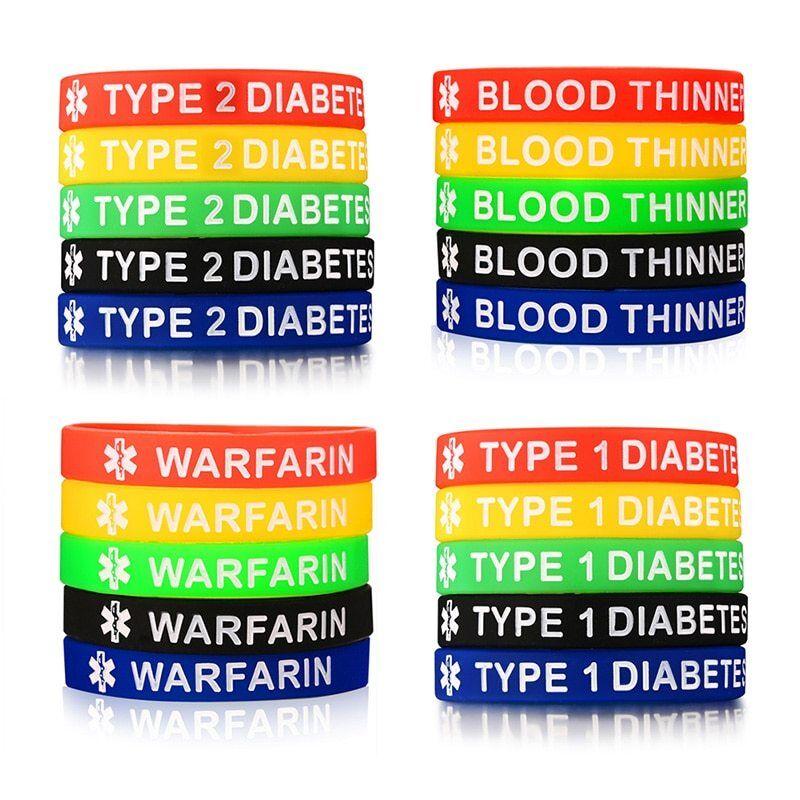 Blood Thinner Silicone Medical Adult Bracelets Set of 3