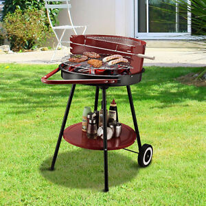 "21"" Portable Charcoal Grill Outdoor Folding Barbecue Trolley BBQ"