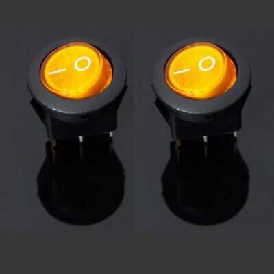 2x Yellow/Amber LED Lit Lighted Rocker Switch Car/Boat/General 12V DC 20A SPST