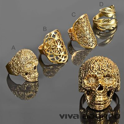 Damen Ring Fingerring Messing Ring Biker Skull Blüten Feder gold RS58 online kaufen