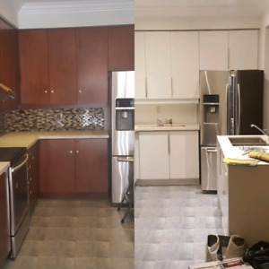 Cabinet painting starting at $800.  New cabinets start at $1500