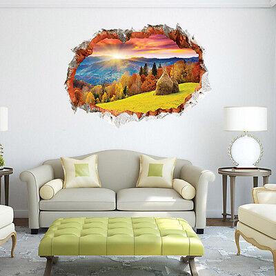 US 3D Wall Sticker Removable Sunset Mural Decal Vinyl Art Living Room Decor