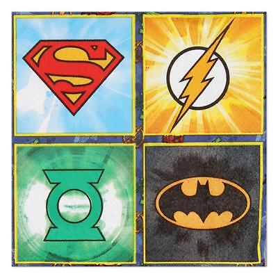 Justice League Dessert Beverage Napkins  16 Count Birthday Party Supplies