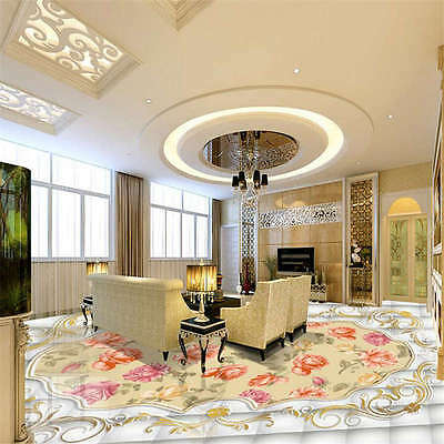Passionate Peonies (Passionate Color Peonies 3D Floor Mural Photo Flooring Wallpaper Home Wall Decal )
