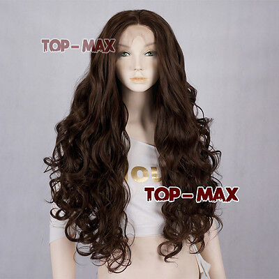 "26"" Dark Brown Long Curly Women Lady Daily Fashion Synthetic Lace Front Hair Wig"