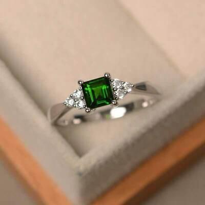 Elegant Women's Wedding Set Rings 925 Silver Princess Cut Emerald Ring Size6-10
