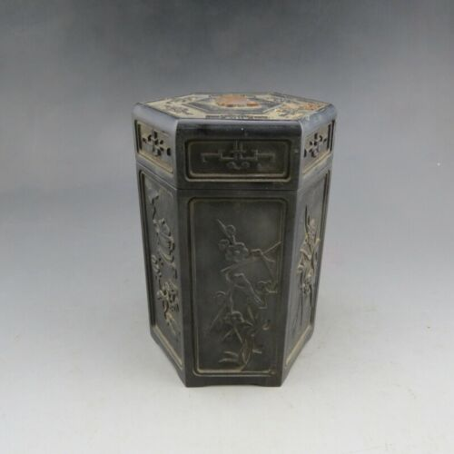 Chinese,wood,antique,literati collection,wood carving,Four gentlemen,Tea caddy E