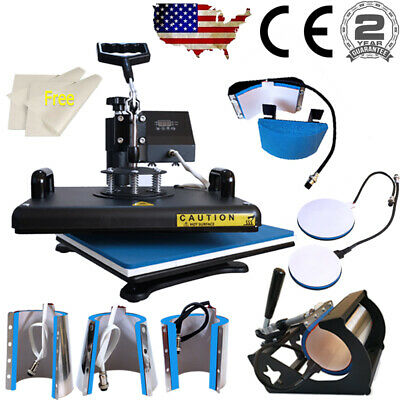 8 In 1 Combo Kits Heat Press 12x15 Transfer Sublimation Machine Swing Away Us