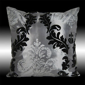 Black Silver Throw Pillow : 2-GRAY-BLACK-SILVER-DAMASK-THROW-PILLOW-CASES-COVERS-17