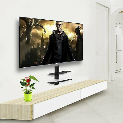 مكتبة تلفزيون جديد Two Floating Shelf TV Stand Wall Mount Console Entertainment Media DVD Streamer