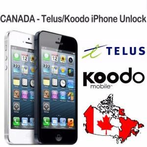 Telus/Koodo Factory Permanent Unlock for iPhone - All Models $89.99