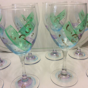 NEW - 8 hand painted wine glasses