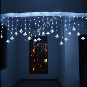 3M 150LED White Snowflake Twinkling Pendant Fairy Light Christmas Outdoor Indoor