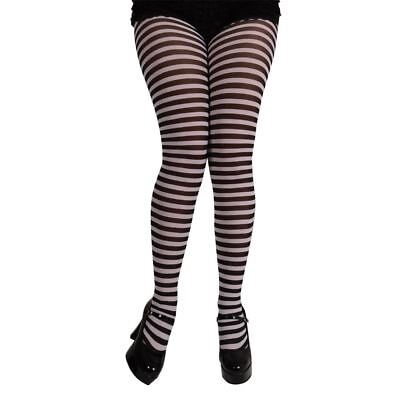 Ladies Sexy Black & White Striped Tights Fancy Dress Halloween Party - Halloween Costumes Black And White Stripes