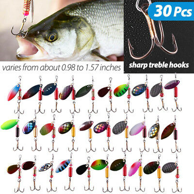 30PCS Fishing Lures Metal Spinner Baits Bass Tackle Crankbait Trout Spoon Trout