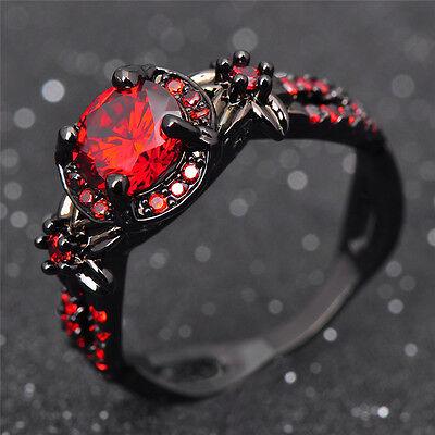 Stunning Red Ruby, Garnet CZ Black Gold Filled Ring, Gifts for Her - Garnet Red Gold Ring