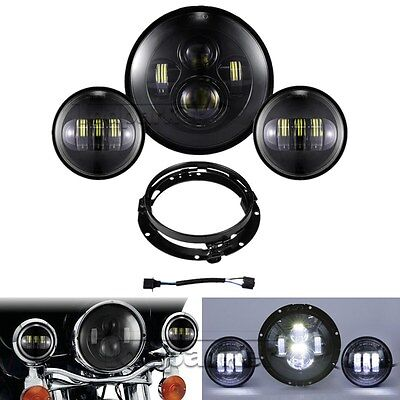 "7"" LED Daymaker Headlight +Passing Lights For Harley Electra Glide Ultra Classic"