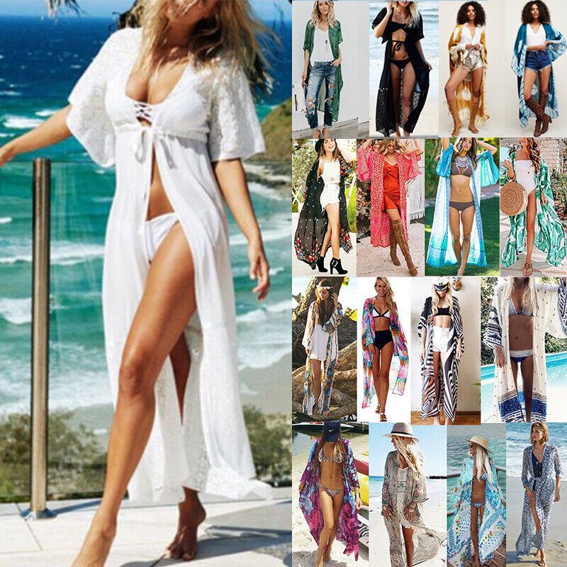 Damen Boho Bikini Cover Up Maxi Vertuschung Kimono Strand Lang Kaftan Cardigan