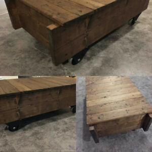 Handcrafted Custom Reproduction Luggage Cart Coffee Table