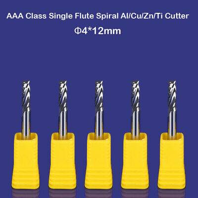 5pc Hq Aluminum Cu Cutting Endmill Single Flute Spiral Cnc Router Bit 4mm X 12mm