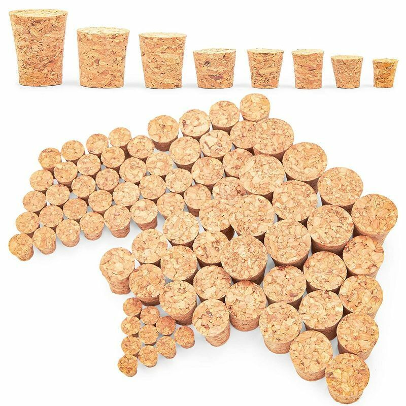 Small Tapered Cork Stoppers for Jars and Bottles, 8 Sizes (80 Pieces)